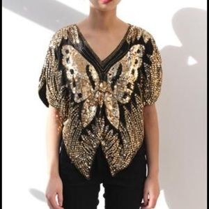 Vintage Tops - Vintage 80s butterfly gold sequin silk top small